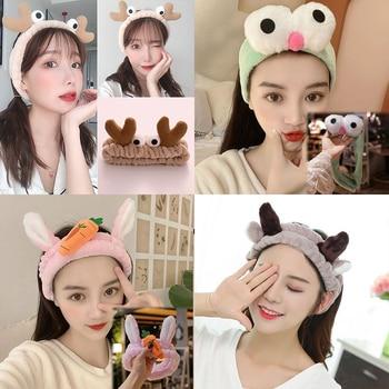 Wash Face Women Girls Hairbands Soft Warm Coral Fleece Bow Animal Ears Headbands Headwear Hair Bands Turban Hair Accessories 2