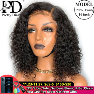 Deep Curly Bob Human Hair Wigs Glueless 13X4 Remy Lace Front Pre Plucked with Baby Hair Deep Wave Short Bob Wig for Black Women