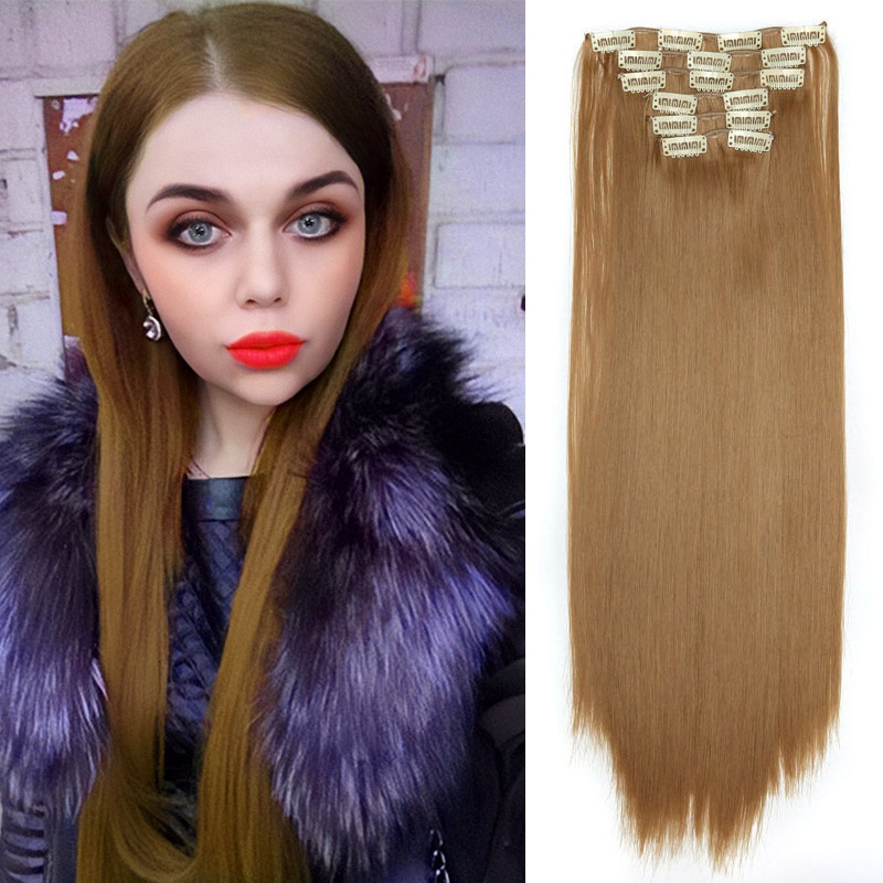 QUEEN BRAID Long Ombre Straight Clip In Hair Extensions 16Clips Full Head Synthetic Hair Extension 22'' Available Heat Resistant