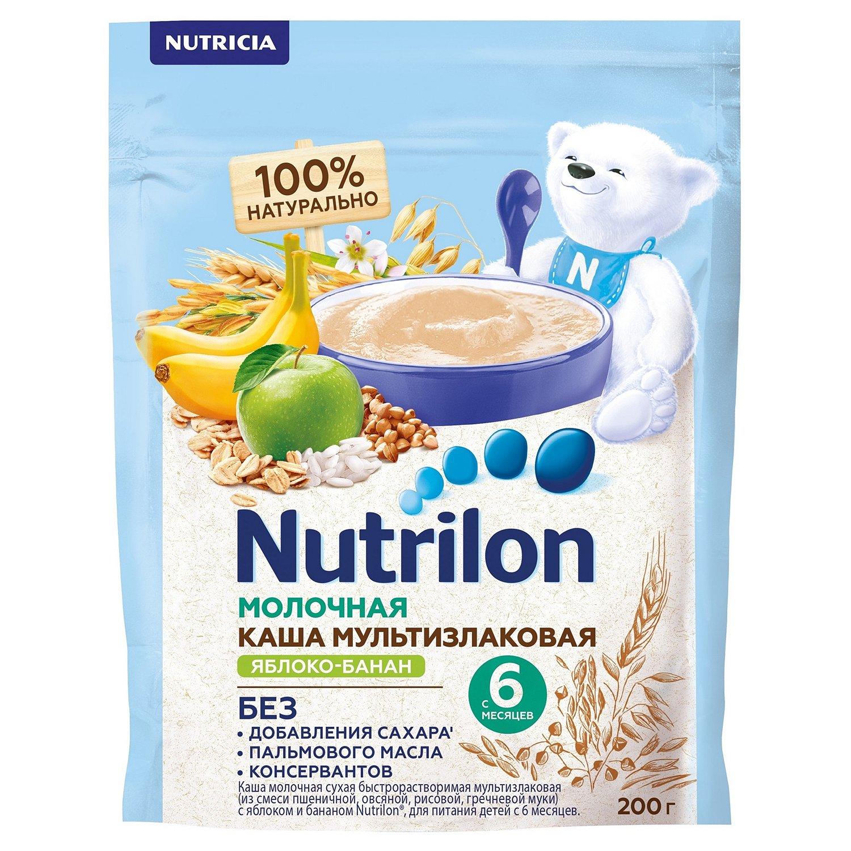 Каша молочная Nutrilon мультизлаковая яблоко-банан 200г с 6месяцев