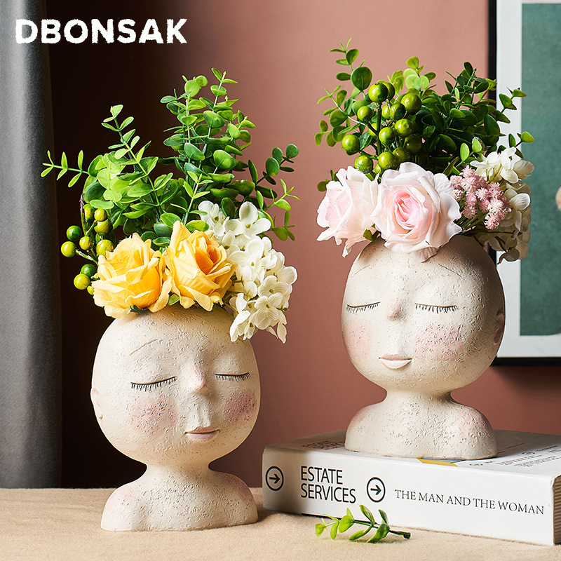 Nordic Human Head Vase Flower Pot Doll Shape Sculpture Resin Portrait Flower Pot Art Vase Home Decor Succulents Head Shape Vase