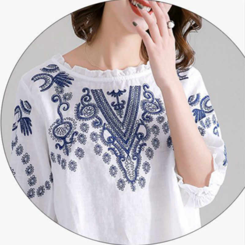 Lente Lange Mouwen Ruches Tops Vrouwen Vintage Borduurwerk Blouse Casual O Hals Katoen Linnen Blusas Femininas Shirt Mujer