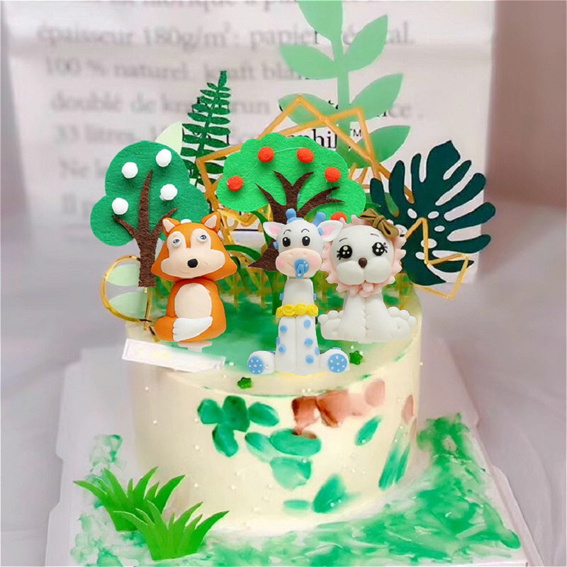 1pc Cute Birthday Cake Toppers Forest Animal Tigers Squirrel Models For Kid S Happy Birthday Christmas Decorations For Home Cake Decorating Supplies Aliexpress