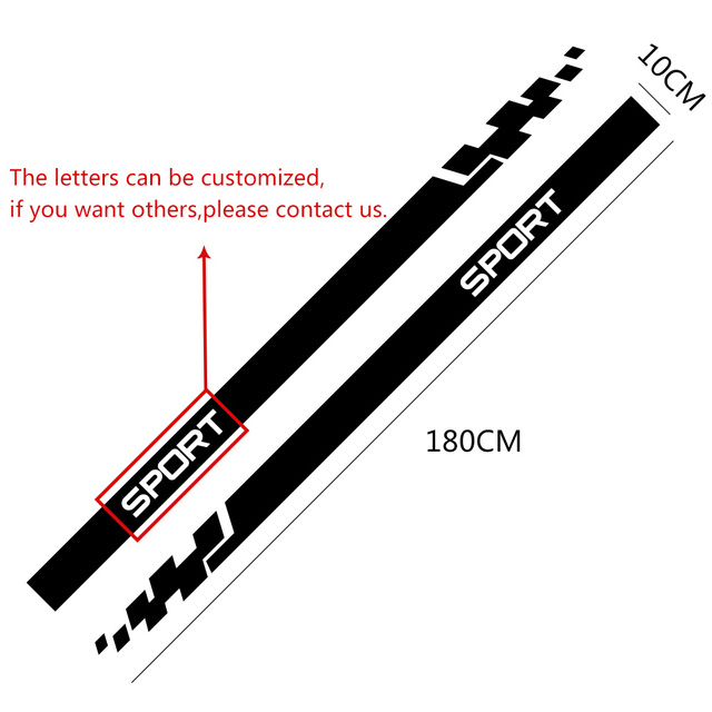 2pcs Car Stickers Auto Vinyl Film Wrap Both Side Stripes Decoration Styling Decal Automobiles Sports Tuning