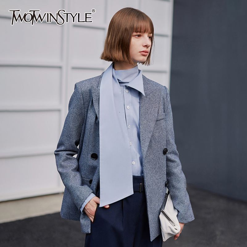 TWOTWINSYLE Gray Streetwear Style Wool Blazer For Women Notched Long Sleeve Tunic Autumn Winter Suit Female Fashion Clothes New