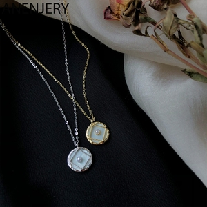 ANENJERY Elegant Round Disc Shell Charm Necklace Silver Color Clavicle Chain Pearl Necklace For Women Jewelry S-N540