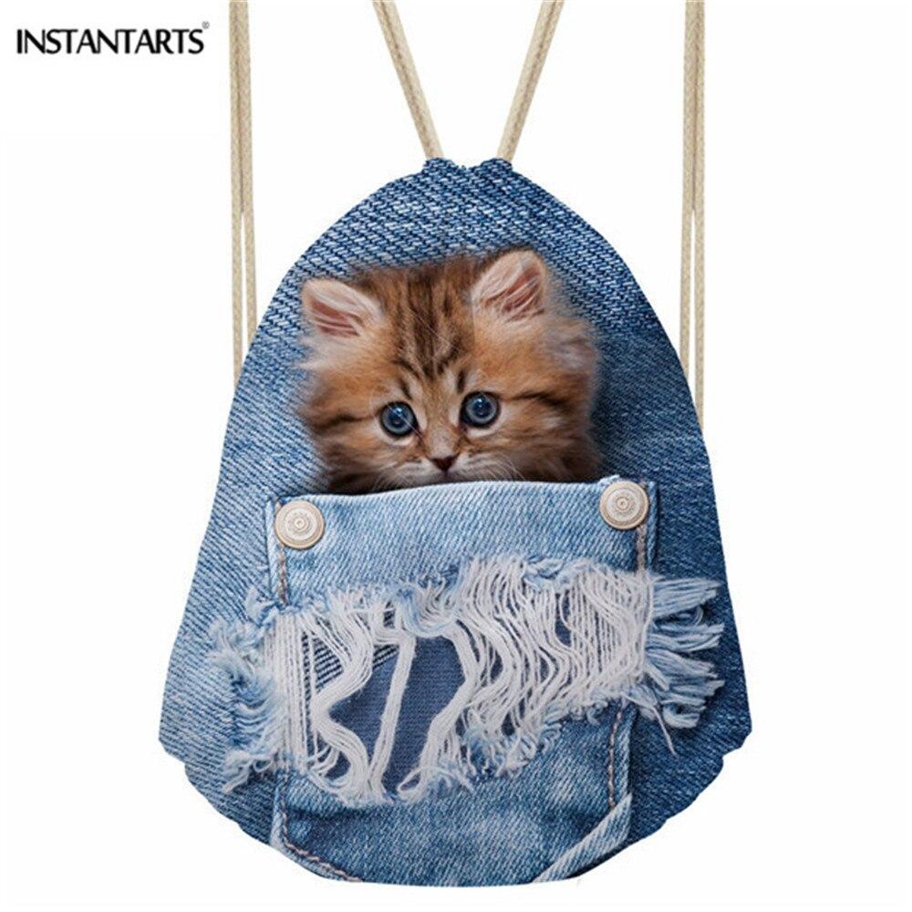 INSTANTARTS Gym Sack Bag Blue Denim Animal Cat Dog Print Fitness Drawstring Backpack Men Boy Girl String School Bag Cinch Sack