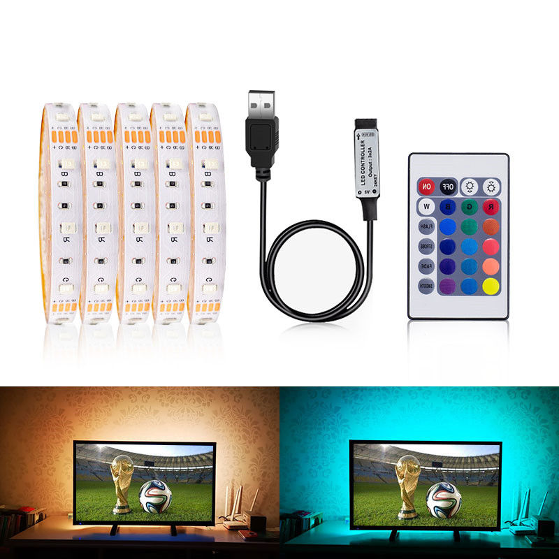 3528 SMD USB LED Strip Light TV RGB USB Charger 5V USB Cable Flexible Tape 1M 2M 3M 4M 5M IR RGB Remote Control LED Light Lamp