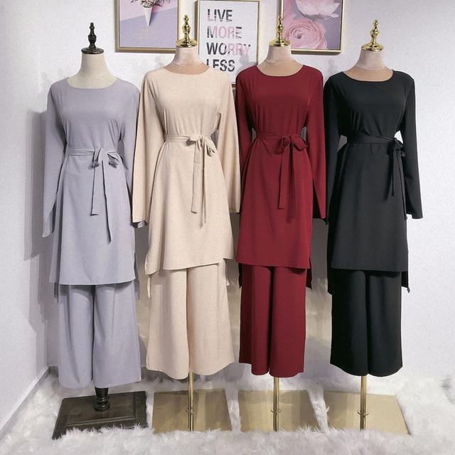 アバヤドバイイスラム教徒ヒジャーブドレスカフタンarabes mujerカフタントルコイスラムの服アンサンブルファムmusulmane 2個