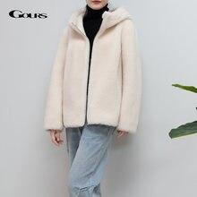 Женская куртка из натуральной овчины gours теплая Толстая шерсти