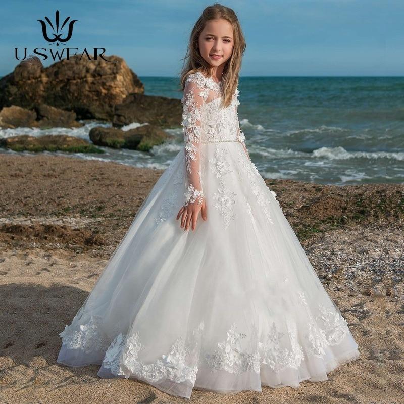 Кружевные бальные платья с длинным рукавом и жемчугом для девочек