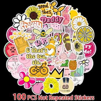 100Pcs Pack Yellow And Pink Summer graffiti stickers For Motor & suitcase cool laptop Skateboard DIY Waterproof - discount item  17% OFF Classic Toys