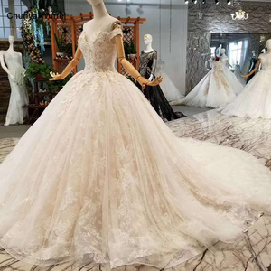Image 1 - LSS076 fast free shipping wedding gowns off the shoulder sweetheart ball gown flowers wedding dresses with long train real price