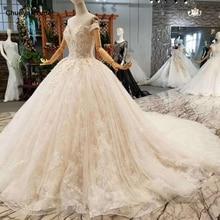 LSS076 سريع شحن مجاني أثواب الزفاف قبالة الكتف الحبيب الكرة ثوب الزهور فساتين الزفاف مع قطار طويل السعر الحقيقي