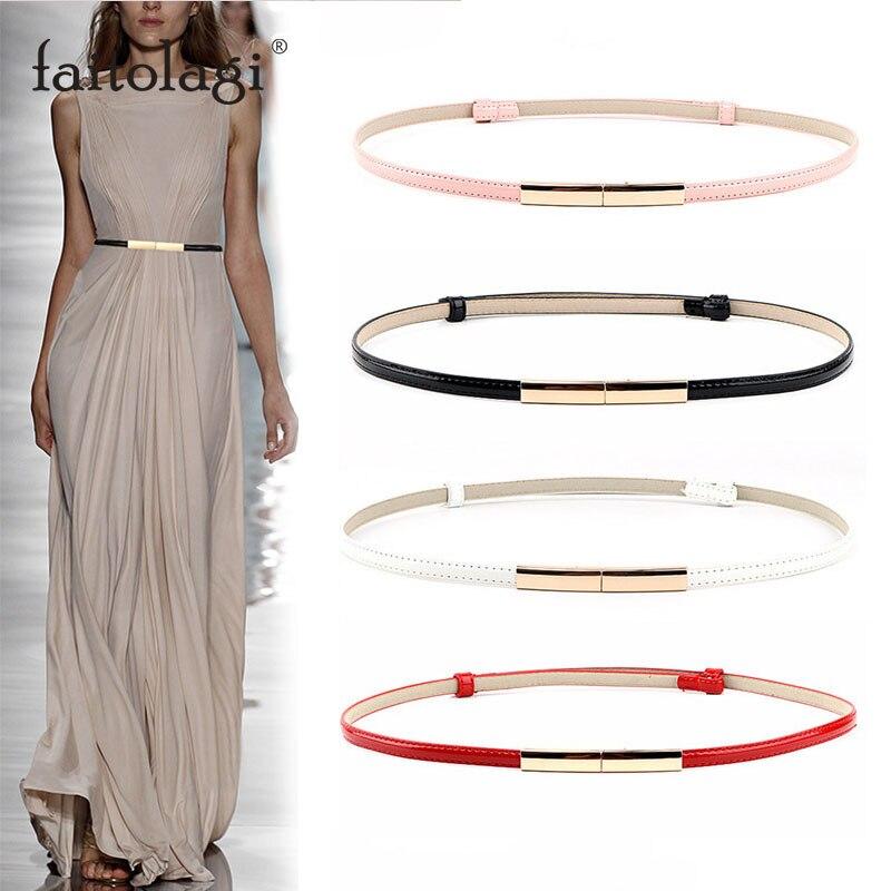 Elastic Slim Ladies Dress Waist Belt Adjustable Leather Women Belt Gold Buckle Black White Blue Skinny Female Belt Pasek Damski