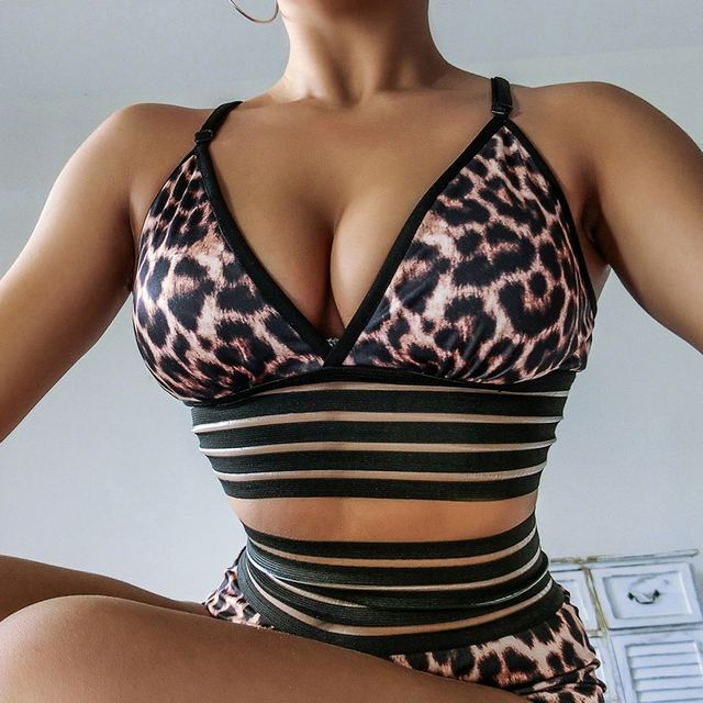 Sexy Leopard Print Push Up Bra Women Sports Bra Top Gym Fitness Bras Lace Running Tenue Sexy Femme Deportivo Mujer Active Wear