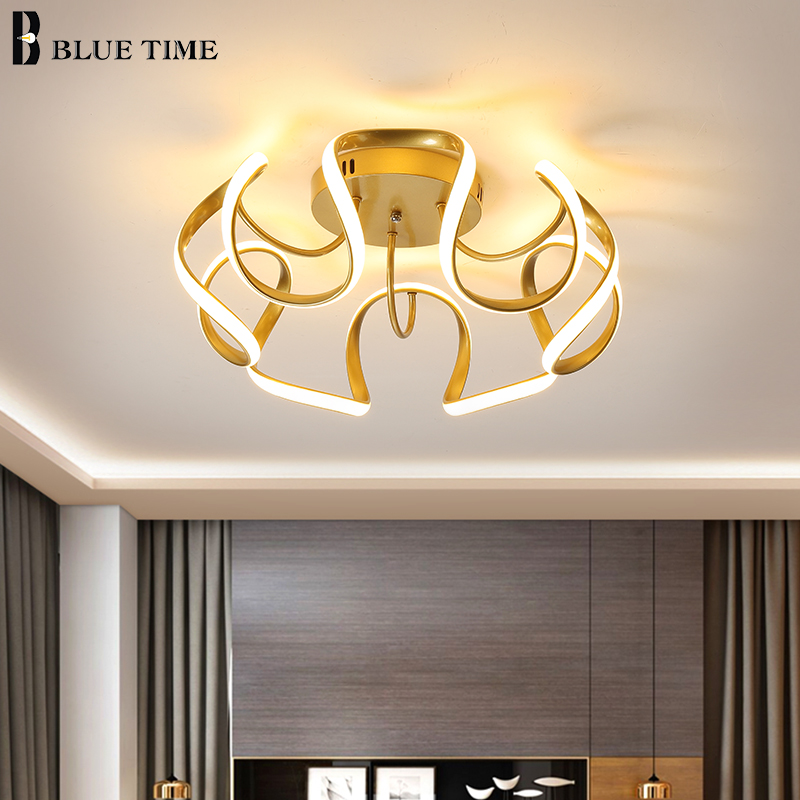 Golden Finished Modern Chandeliers LED Lighting For Living Room Dining Room Bedroom Home LED Chandeliers Indoor Lighting Fixture