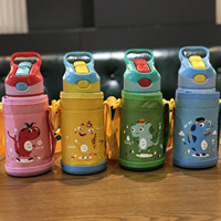 Baby Cup Baby Thermos Cartoon Water Cup Kids Cup Stainless Steel Baby Pot Insulation Cup Cover Water Bottles Straw Cup