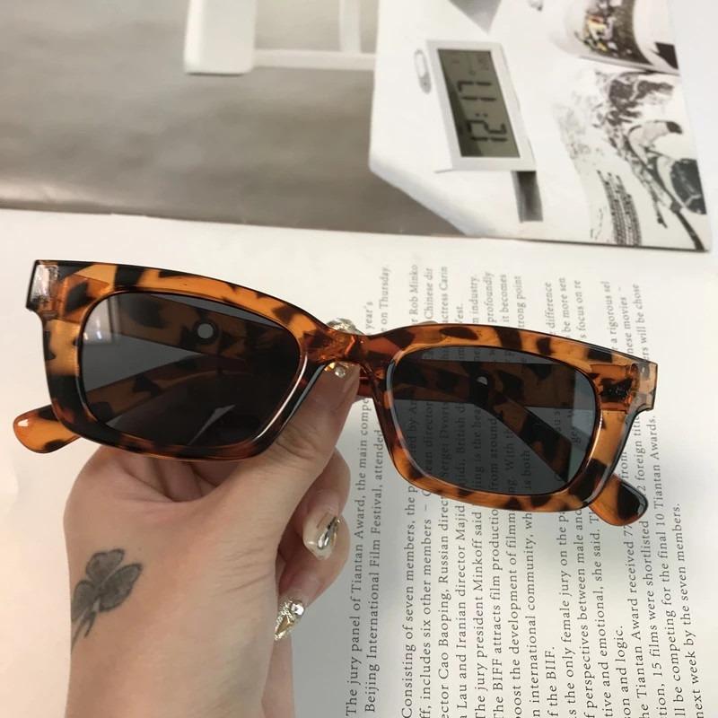 1PCs New Unisex Rectangle Vintage Sunglasses 2021 Fashion Design Retro Sun Glasses Female Lady Eyeglass Cat Eye Casual Goggles
