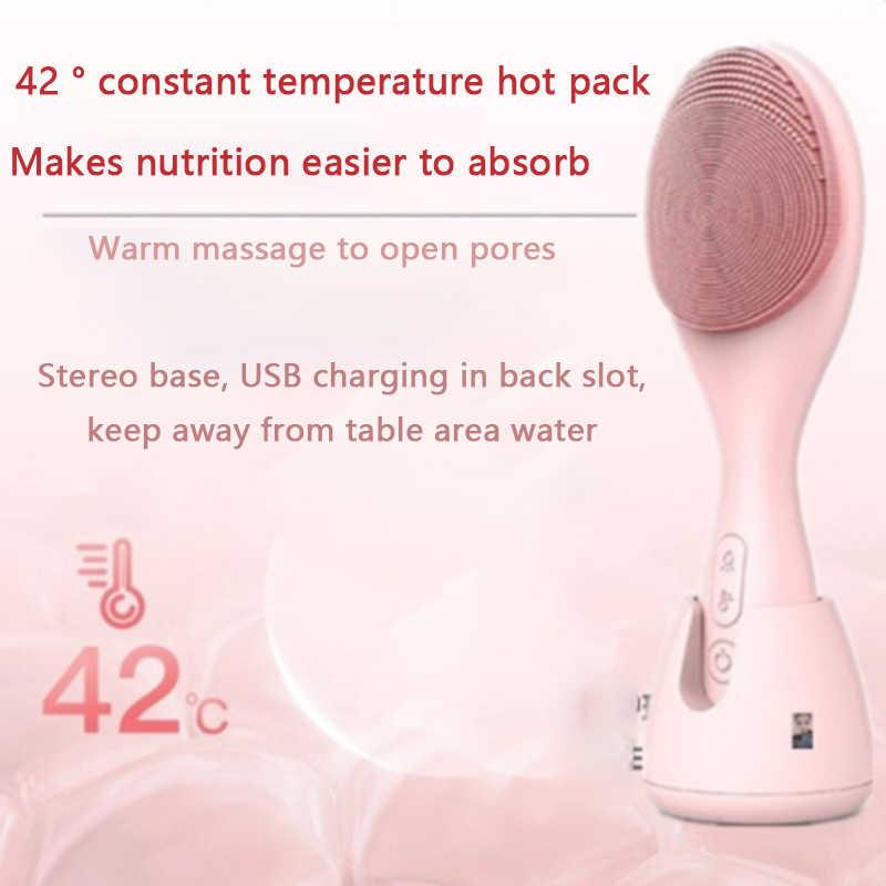 Konka elétrica rosto escova de limpeza silicone usb facial escova limpeza cuidados com a pele máquina de limpeza ipx6 à prova dwaterproof água