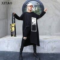 XITAO Irregular Pleated Print Long T Shirt Plus Size Women Clothes 2019 Fashion Match All Tshirt Top Fashion Autumn New WQR1830
