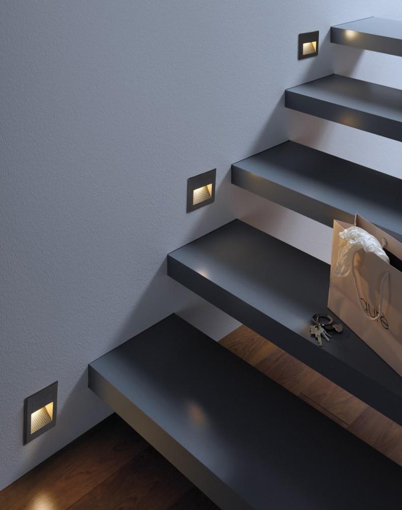 Outdoor Indoor LED Step Light 15LEDS Waterproof Stair Light Wall Embedded Underground Lamp Lighting Deck Footlights 85-265V IP65