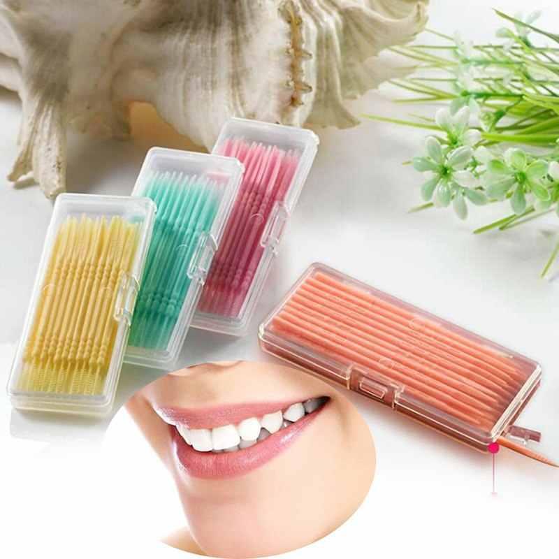 40 pièces/boîte Double tête fil dentaire interdentaire cure-dents brosse brosse dents bâton dentaire soins bucco-dentaires cure-dents
