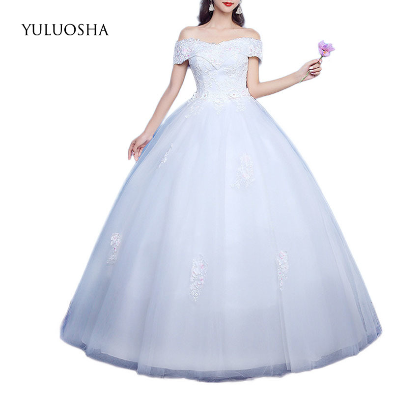 YULUOSHA Sexy Wedding Dresses Sleeveless Appliques Backless Lace Up Floor-Length Wedding Gown Vestido De Noiva Princesa