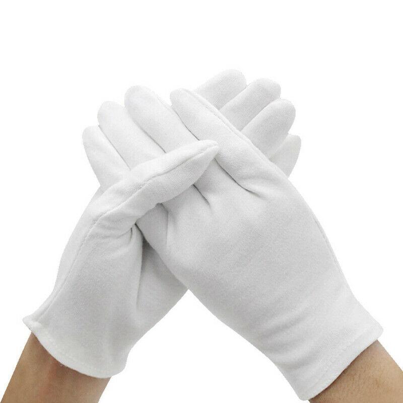 6 Pair Wholesale White Cotton Gloves Moisturising Eczema Butler Beauty Waiters Magician Labor Gloves Training Wear Gloves