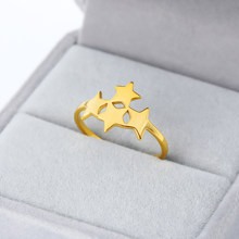 2019 New Stainless Steel Rings For Women Classic Star Golden Sliver Color Ring Fashion Party Wedding Ring Jewellery Gifts(China)