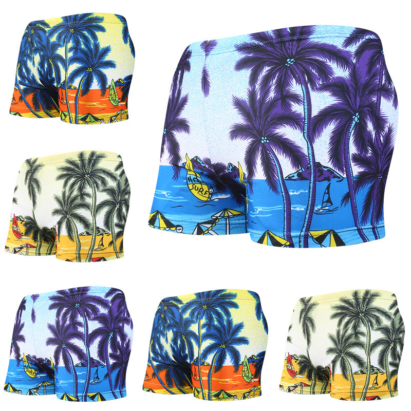 Big Boy Boxer Palm Pattern Swimming Trunks Beach Waterfront Fashion Palm BOY'S Swimming Trunks Breathable Skin Swimming Trunks