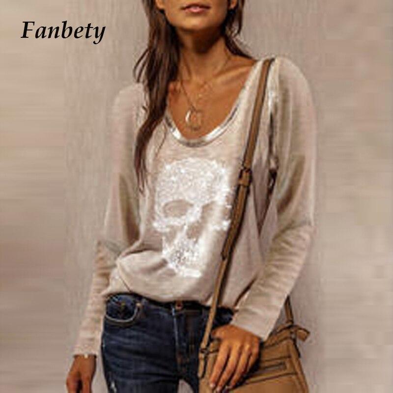 Mode Pailletten Schädel Druck T Shirt Streetwear Casual Frühling Herbst Langarm Pullover Tops Elegante Frauen Oansatz T-shirt 3XL