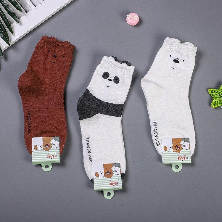 Cartoon Bear Panda Animal Print Socks Happy Cute Funny Women Socks Korean Style Autumn Winter Comfortable Harajuku Cotton Socks