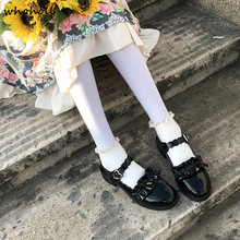 WHOHOLL Japanese Student Shoes College Girl Lolita Cospaly JK Commuter Uniform PU Leather loafer