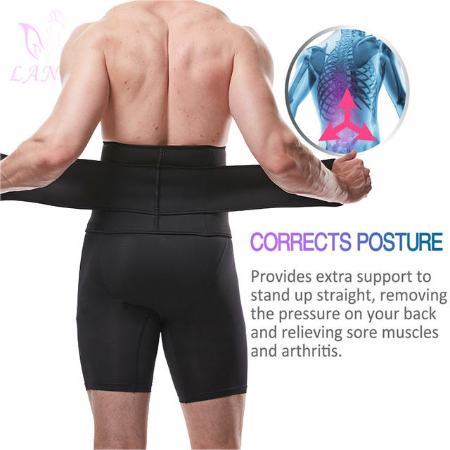 LANFEI Mens Thermo Neoprene Body Shaper Waist Trainer Belt Slimming Corset Waist Support Sweat Cinchers Underwear Modeling Strap 5