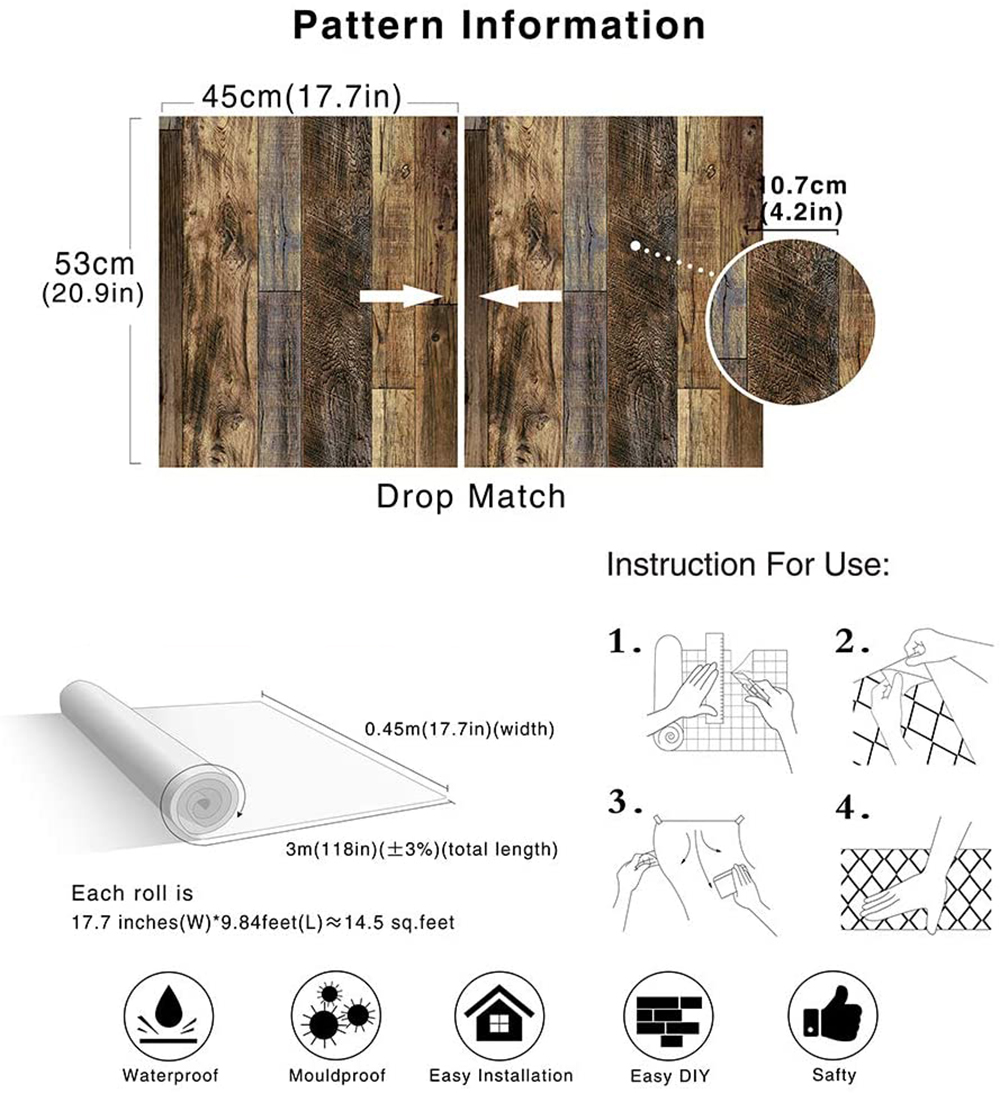 Peel and Stick Wood Plank Wallpaper Shiplap Brown Vinyl Self Adhesive Contact Paper Decorative Wall Covering Stickers 6