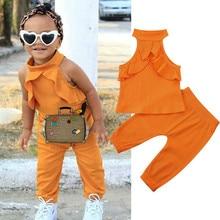 Милые комплекты одежды для маленьких девочек, однотонные топы без рукавов с оборками+ длинные штаны, комплект из 2 предметов