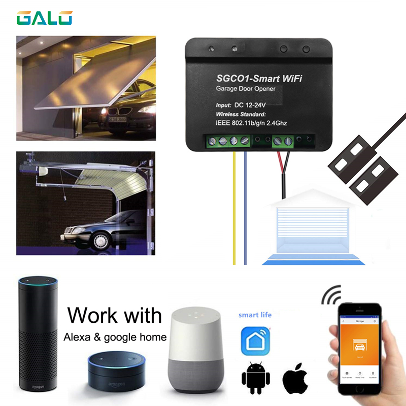 WiFi Switch Smart Swing Sliding Garage Door Opener Controller With Alexa Google Home Smart Life/ APP Control Wifi Smart Receiver