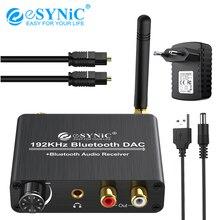 محول صوتي esyonic بلوتوث DAC مع التحكم في مستوى الصوت 192 كيلو هرتز رقمي محوري Toslink إلى ستيريو تناظري L/R RCA 3.5 مللي متر