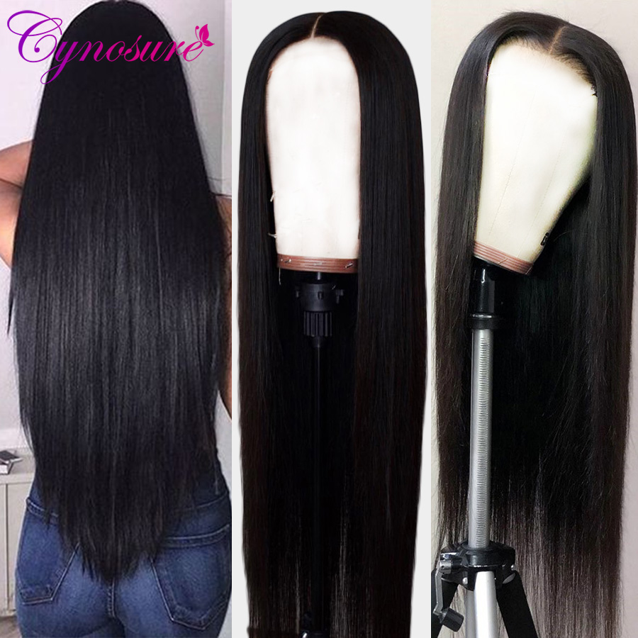 Cynosure 13x4 Lace Front Human Hair Wigs For Women Pre Plucked Hairline Brazilian Straight Lace Frontal Wig With Baby Hair Remy