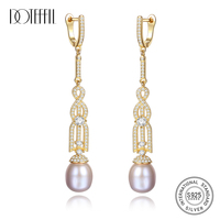 DOTEFFIL 925 Silver Earring Long Section Natural Freshwater Pearl Women Dangle Drop Earrings Fine Jewelry Christmas Gift Party