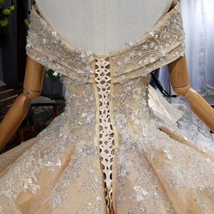 Image 5 - HTL660 short sleeved ball gown wedding dresses cathedral train sequined  off the shoulder wedding dress vestido de casamento