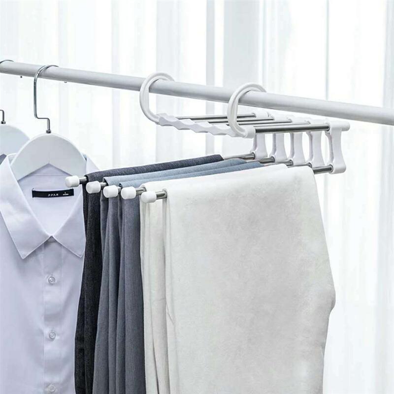 OUNONA Space Saving Clothes Hanger Multifunction Coat Hanger Magic Clothes Hanger Wardrobe Storage Rack For Trouser Coat Pants