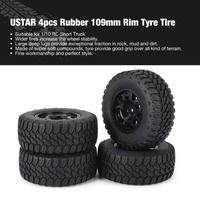 AUSTAR AX 4pcs 109mm Rubber Rim Tyre Tire Wheel for 1/10 RC Short Truck Car Model HSP HPI Component Spare Parts Accessories fz