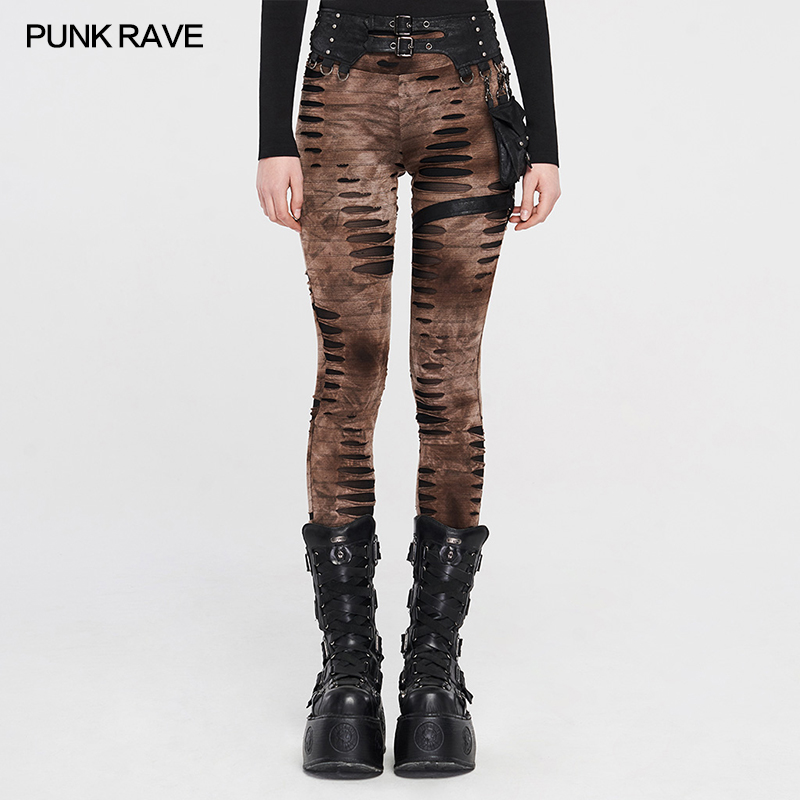 PUNK RAVE Women's Steampunk Retro Coffee Detachable Waistbag Broken Hole Knit Leggings Punk Adjustable Belt High Waist Trousers
