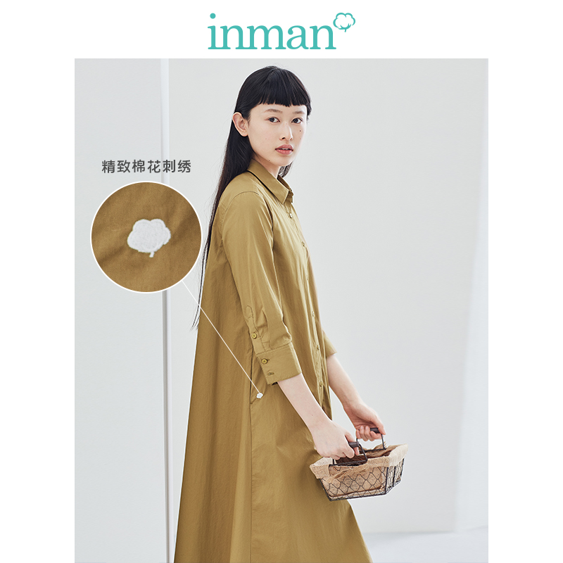 INMAN 2020 Spring New Arrival Literary Pure Color Lapel Simple And Elegant Minimalism Loose Medium Sleeve Dress