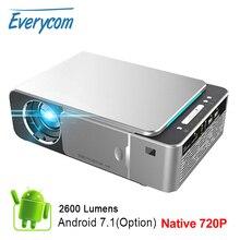 EverycomミニプロジェクターT6 1280 × 720解像度、ledポータブルhdビーマーホームシネマ、オプションのアンドロイドwifi