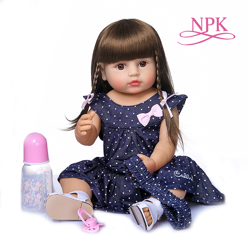 55CM original NPK reborn baby toddler gir very soft full body silicone doll bath toy(China)
