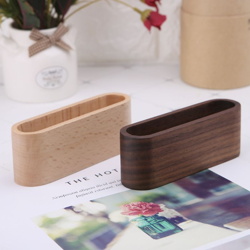 Wooden Table Business Card Display Stand Memo Holder Storage Box Organizer Walnut Beech Wood X6HB