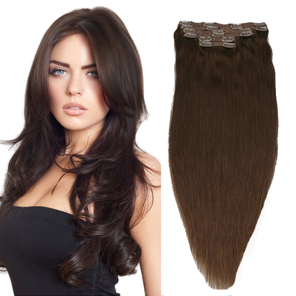 Toysww 100% Real Human Hair Extension Full Head 6Pcs/Set Clip In Hair Extensions Dark Brown Color #2,100g 120g